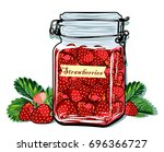 bank with strawberry jam | Shutterstock .eps vector #696366727