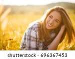 authentic sunny portrait of... | Shutterstock . vector #696367453