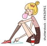 girl chewing gum | Shutterstock .eps vector #69636961