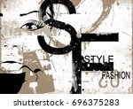 fashion woman in sketch style.... | Shutterstock . vector #696375283