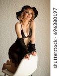 Small photo of Fashion lingerie. Model woman. Lingerie model. Blonde model