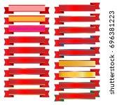 red ribbon on white background   Shutterstock .eps vector #696381223