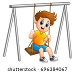 vector illustration of cute boy ... | Shutterstock .eps vector #696384067