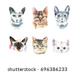 set of six different watercolor ... | Shutterstock . vector #696386233