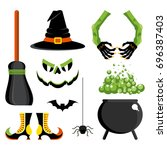 set of witch icon. festive... | Shutterstock .eps vector #696387403