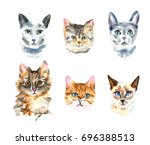 set of six different watercolor ... | Shutterstock . vector #696388513