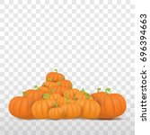 autumn vector orange pumpkins...   Shutterstock .eps vector #696394663