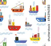 sea seamless pattern with boats ... | Shutterstock .eps vector #696396583