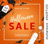 halloween sale vector... | Shutterstock .eps vector #696397153