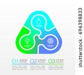 three piece flat puzzle round... | Shutterstock .eps vector #696398833