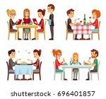people in restaurant eating... | Shutterstock . vector #696401857