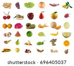 fruits set mix isolated on... | Shutterstock . vector #696405037