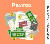 payroll. invoice. financial... | Shutterstock .eps vector #696405283