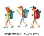 vector set of people hiking   Shutterstock .eps vector #696411943