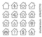 houses linear icons set. home... | Shutterstock .eps vector #696429793