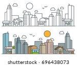 flat isometric line city street ... | Shutterstock .eps vector #696438073