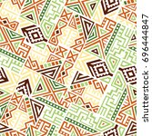 creative ethnic style square... | Shutterstock .eps vector #696444847