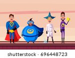 set of superhero. cartoon... | Shutterstock .eps vector #696448723