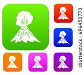 volcano erupting set icon in... | Shutterstock .eps vector #696452773