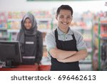 success supermarket owner... | Shutterstock . vector #696462613