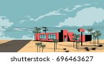 old cafe on the road  palm... | Shutterstock .eps vector #696463627
