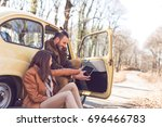 young couple in love taking a... | Shutterstock . vector #696466783