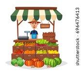farm shop. local stall market.... | Shutterstock .eps vector #696476413