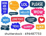 speech bubble doodles set.... | Shutterstock .eps vector #696487753