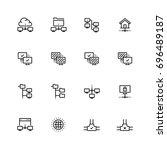 computer network vector icon... | Shutterstock .eps vector #696489187
