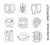 octoberfest thin line icons ... | Shutterstock .eps vector #696493327