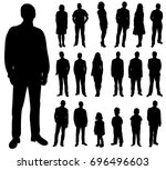 set of silhouettes of people ... | Shutterstock .eps vector #696496603