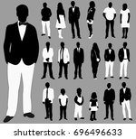 set of silhouettes of people ... | Shutterstock .eps vector #696496633