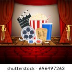 movie theater with row of red... | Shutterstock .eps vector #696497263
