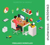 professional freelancer working ... | Shutterstock .eps vector #696504463