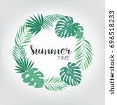round frame with tropical palm... | Shutterstock .eps vector #696518233