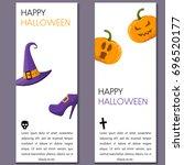 cartoon halloween vertical... | Shutterstock .eps vector #696520177
