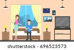 hostel room service with host.... | Shutterstock . vector #696523573
