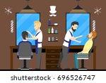 barbershop salon inside. male... | Shutterstock . vector #696526747