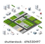 set of isometric objects and...   Shutterstock .eps vector #696530497