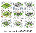 set of isometric modules for... | Shutterstock .eps vector #696531343