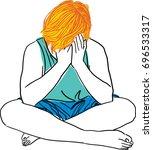 vector art drawing of sadness...   Shutterstock .eps vector #696533317