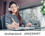 young asian casual...   Shutterstock . vector #696539497