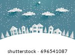 views of the house in winter.... | Shutterstock .eps vector #696541087