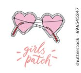 sunglasses patch. hand drawn... | Shutterstock .eps vector #696545347