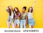 picture of young smiling women... | Shutterstock . vector #696548893
