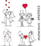 set of wedding pictures  bride... | Shutterstock .eps vector #69655015