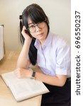 cute asian thai high school...   Shutterstock . vector #696550237