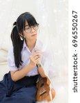 cute asian thai high school...   Shutterstock . vector #696550267