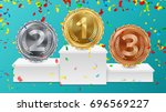winner pedestal with gold ... | Shutterstock .eps vector #696569227