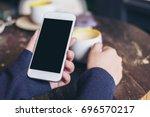 mockup image of woman's hands...   Shutterstock . vector #696570217